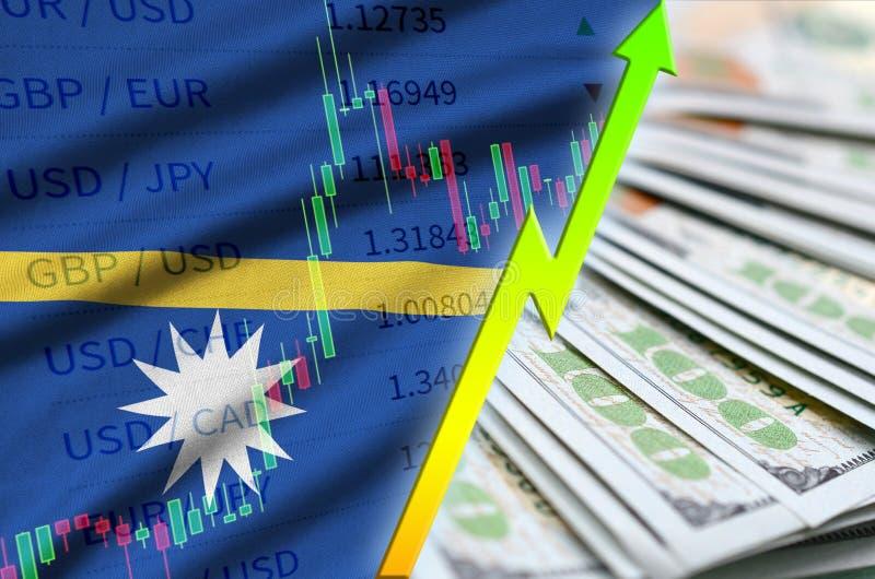 Bandeira e carta de Nauru que crescem a posição do dólar americano com um fã das notas de dólar ilustração stock