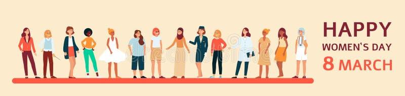 Bandeira e cartaz fêmeas com texto o 8 de março e o dia das mulheres felizes ilustração do vetor