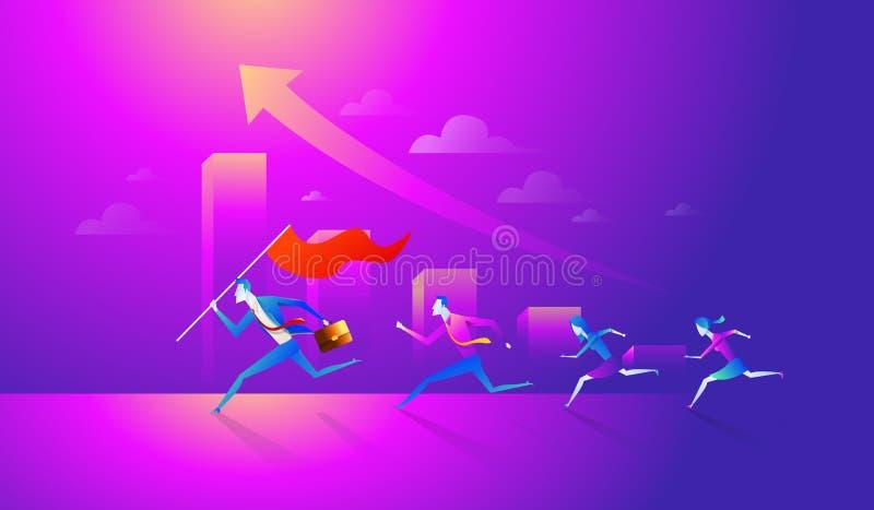 Bandeira e corredor da terra arrendada da equipe do negócio ao sucesso Ilustração do vetor do negócio do conceito ilustração royalty free