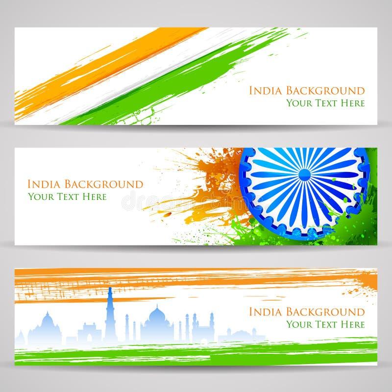 Bandeira e encabeçamento para a celebração da Índia ilustração royalty free