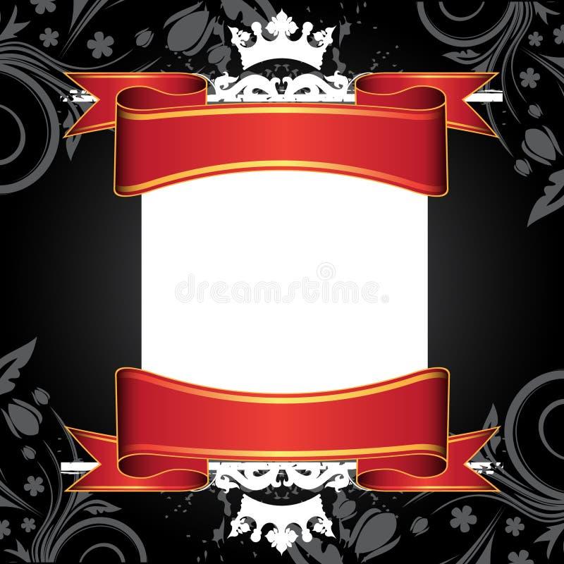 Bandeira e fitas brancas ilustração stock