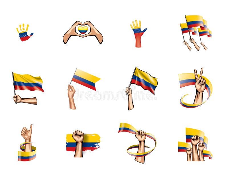 Bandeira e mão de Colômbia no fundo branco Ilustração do vetor ilustração stock