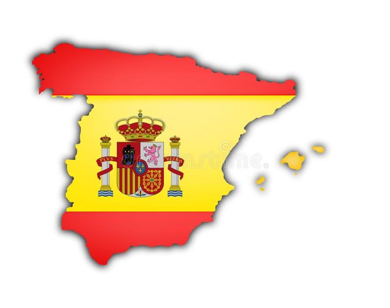 Bandeira e mapa de spain ilustração stock