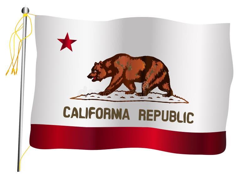 Bandeira e mastro de bandeira de ondulação do estado de Califórnia ilustração royalty free