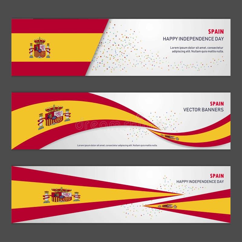 Bandeira e mosca do projeto do fundo do sumário do Dia da Independência da Espanha ilustração royalty free
