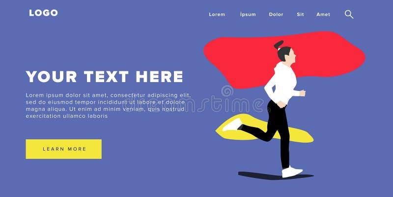 A bandeira e o slider coloridos modernos da Web do projeto liso incluem elementos de Ui com a página ereta da aterrissagem da sil ilustração royalty free