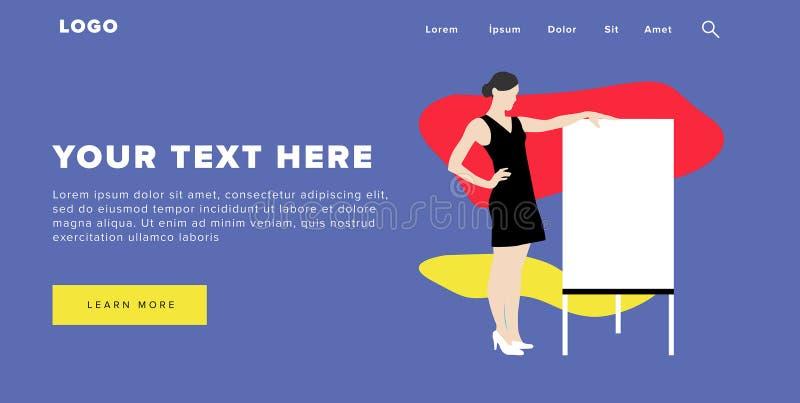 A bandeira e o slider coloridos modernos da Web do projeto liso incluem elementos de Ui com a página ereta da aterrissagem da sil ilustração do vetor