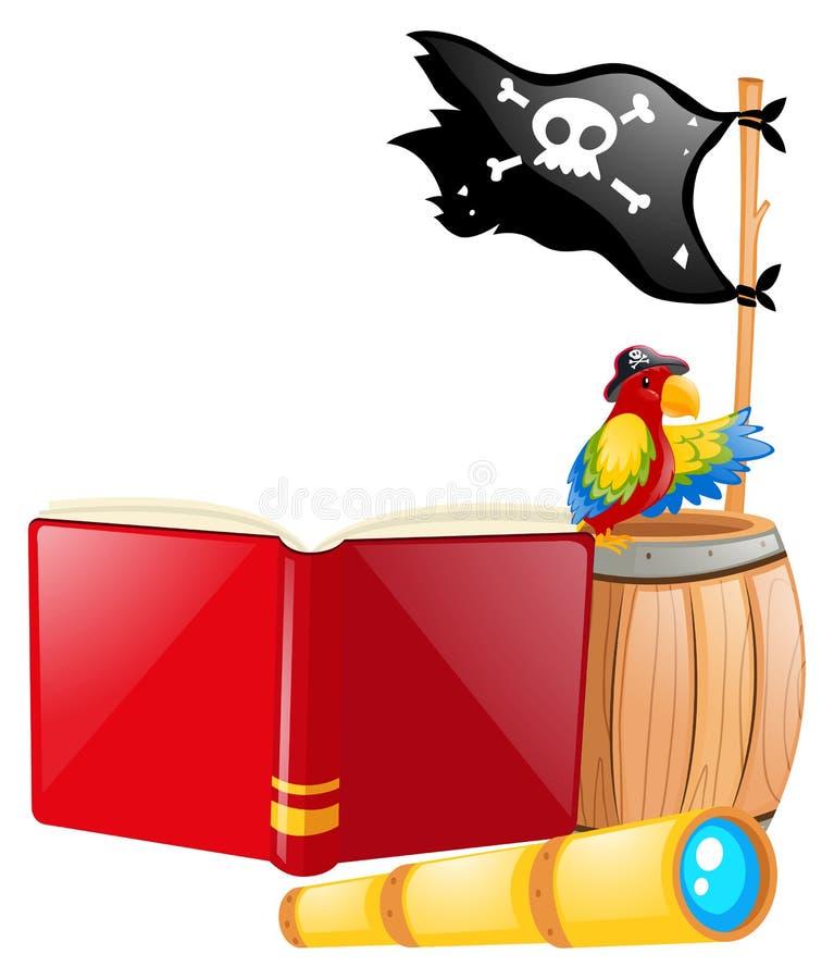 Bandeira e papagaio de pirata ilustração stock