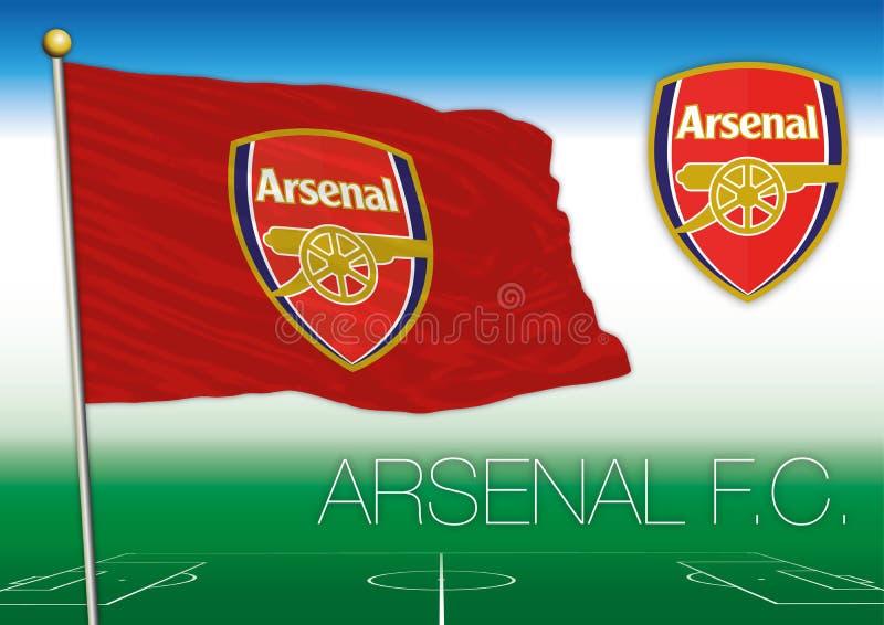 Bandeira e s?mbolo do clube do futebol do arsenal ilustração stock