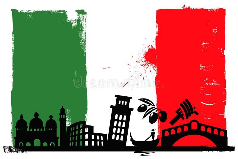 Bandeira e silhuetas de Italia ilustração stock