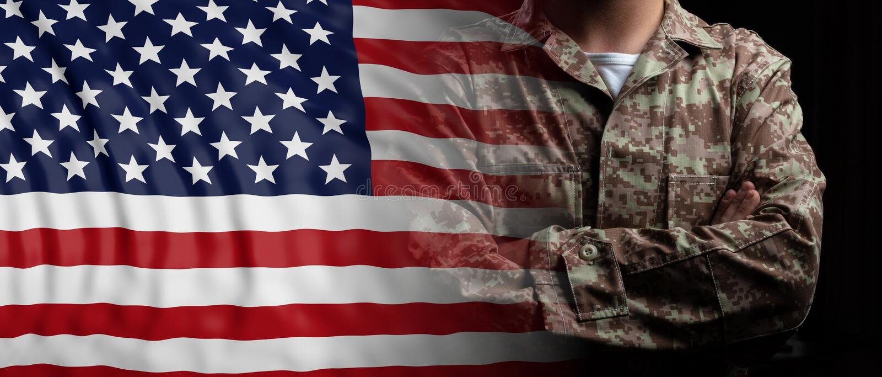 Bandeira e soldado do Estados Unidos da América com braços cruzados ilustração 3D ilustração stock