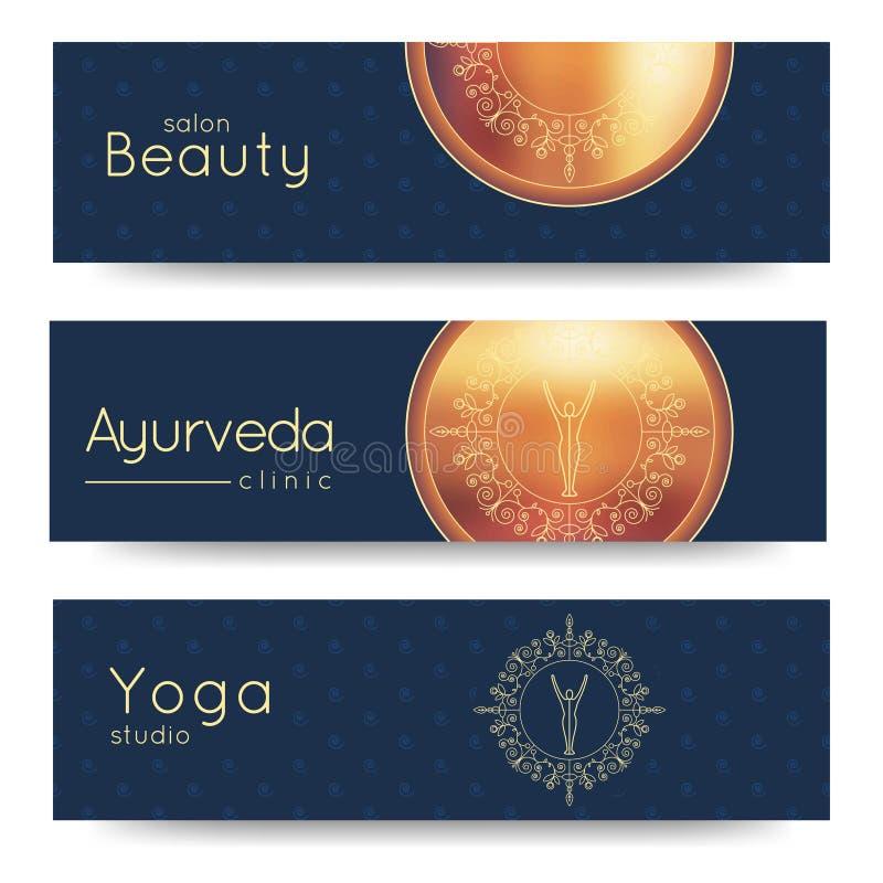 Bandeira elegante do vetor da ioga Moldes profissionais da bandeira para o estúdio da ioga, Web site da ioga, compartimento da io ilustração royalty free