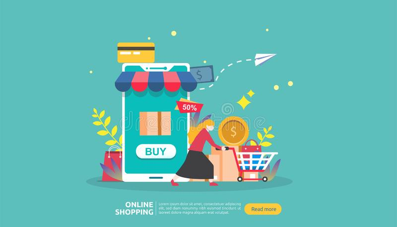 Bandeira em linha da compra Conceito do negócio para o comércio eletrônico da venda com smartphone e caráter minúsculo dos povos  ilustração royalty free