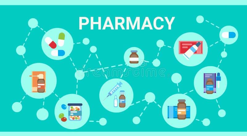 Bandeira em linha da rede da medicina do serviço do hospital do doutor Health Care Clinics da consulta médica da farmácia ilustração stock