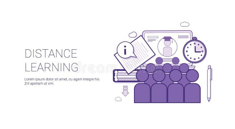 Bandeira em linha da Web do molde da educação do Elearning do conceito do negócio de Learing da distância com espaço da cópia ilustração do vetor