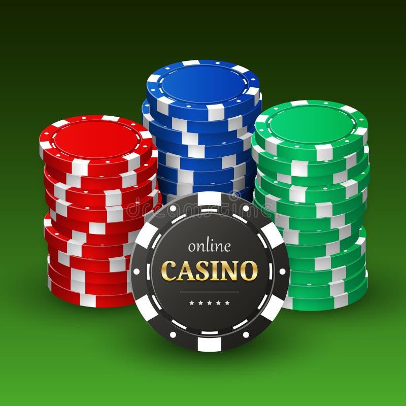 A bandeira em linha do casino com plástico 3d realístico lasca-se ilustração royalty free