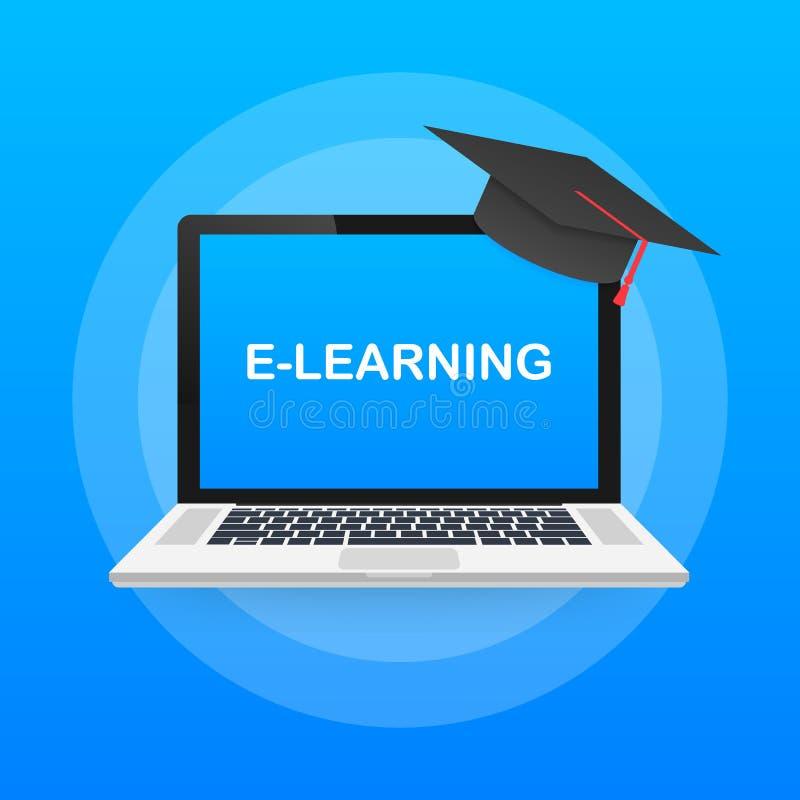 Bandeira em linha do conceito da educação Cursos de formação em linha Cursos, ensino eletrónico Ilustração do vetor ilustração stock
