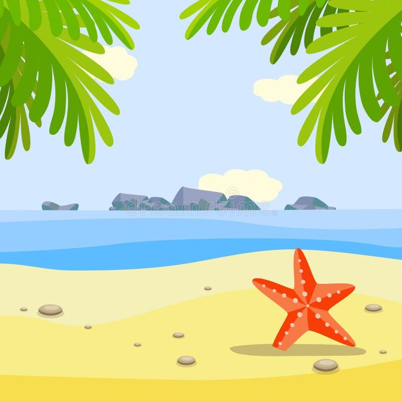Bandeira ensolarada da praia do verão com a estrela do mar vermelha na areia sob palmeiras ilustração stock