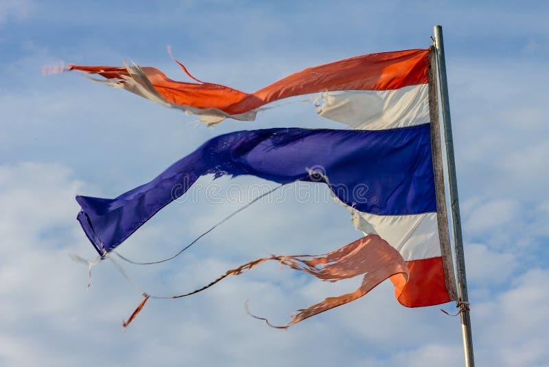 Bandeira esfarrapada de Tailândia fotografia de stock royalty free