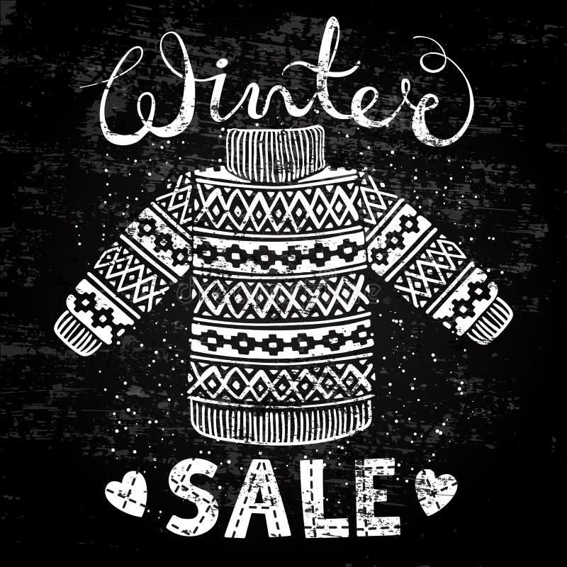 Bandeira especial do inverno, etiqueta com o pulôver de lã feito malha ou camiseta Venda sazonal do conceito da compra do negócio ilustração stock