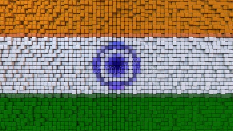 Bandeira estilizado do mosaico da Índia feita dos pixéis, rendição 3D ilustração stock