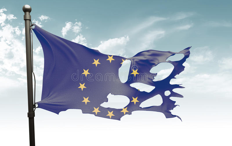 Bandeira europeia rasgada fotografia de stock royalty free