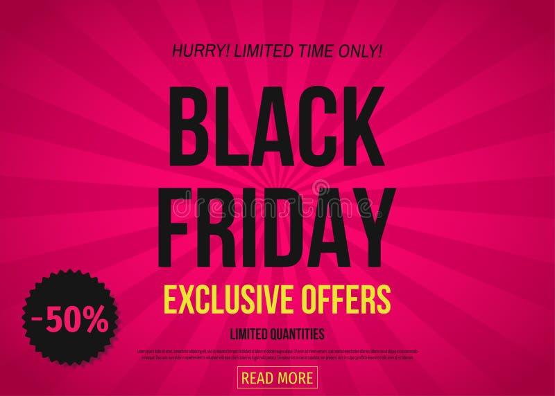 Bandeira exclusiva da oferta de Black Friday: 50% fora ilustração do vetor