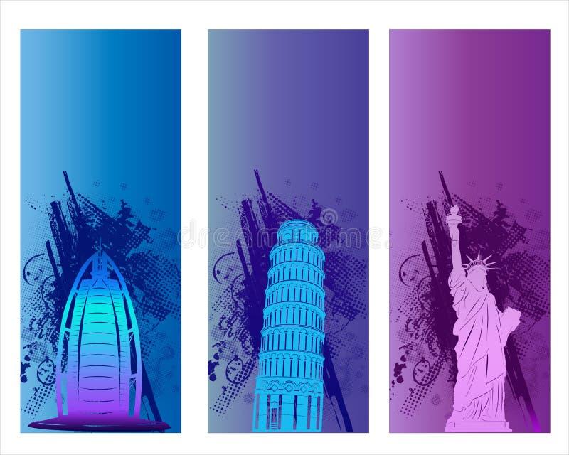 Bandeira famosa colorida da cidade ilustração royalty free