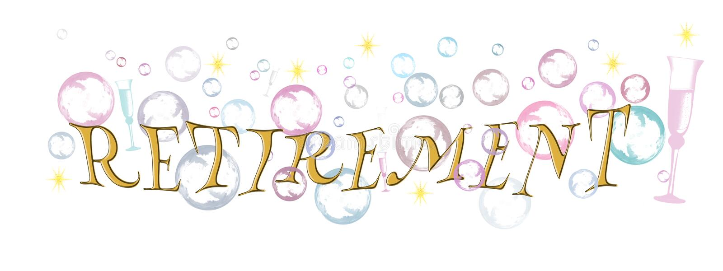 Bandeira feliz da aposentadoria, fundo com bolhas e vidros do champanhe, fundo branco ilustração stock