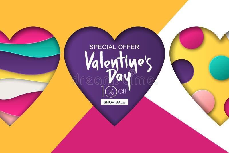 Bandeira feliz da venda do dia de Valentim Projete para o inseto do feriado, cartaz, cartão, convite do partido Ilustração do vet ilustração do vetor