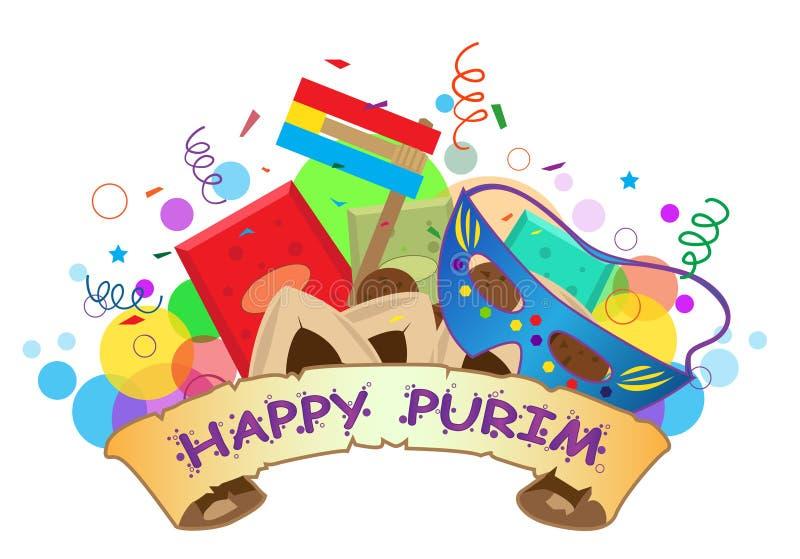 Bandeira feliz de Purim ilustração royalty free