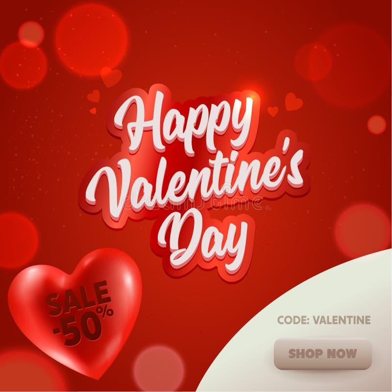 Bandeira feliz de Valentine Day Sale Offer Online Cartaz do Promo do desconto no projeto vermelho do elemento da propaganda do co ilustração do vetor