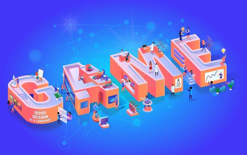 Bandeira feliz do alfabeto da tipografia do partido da zona do jogo ilustração royalty free