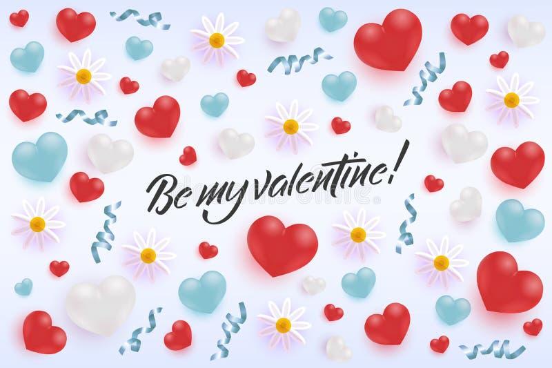Bandeira feliz do cumprimento de Valentine Day com formas, curvas e as flores realísticas do coração ilustração do vetor