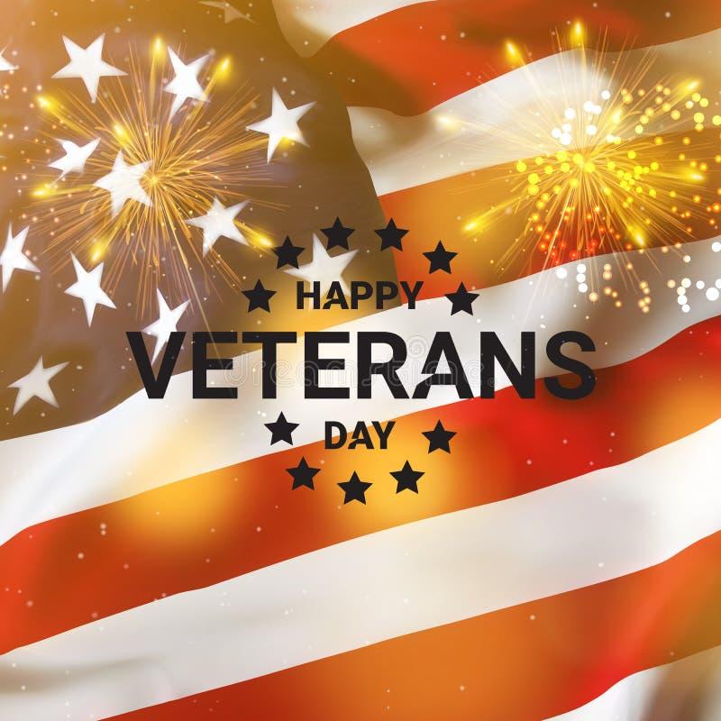 Bandeira feliz do dia de veteranos, fundo patriótico americano Dia da Independ?ncia de Am?rica ilustração royalty free
