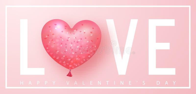 Bandeira feliz do dia dos Valentim Fundo bonito com o balão de ar dado forma coração Ilustração do vetor para o Web site ilustração do vetor