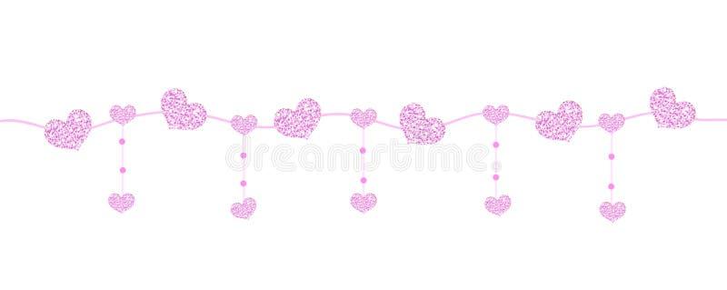 Bandeira feliz do dia do ` s do Valentim com os corações feitos do brilho Beiras horizontais brilhantes Efervescência de brilho r ilustração royalty free