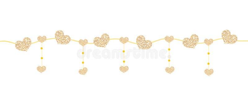 Bandeira feliz do dia do ` s do Valentim com os corações feitos do brilho Beiras horizontais brilhantes Efervescência de brilho r ilustração do vetor