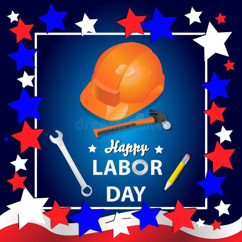 Bandeira feliz do Dia do Trabalhador Molde do projeto Ilustra??o do vetor ilustração do vetor
