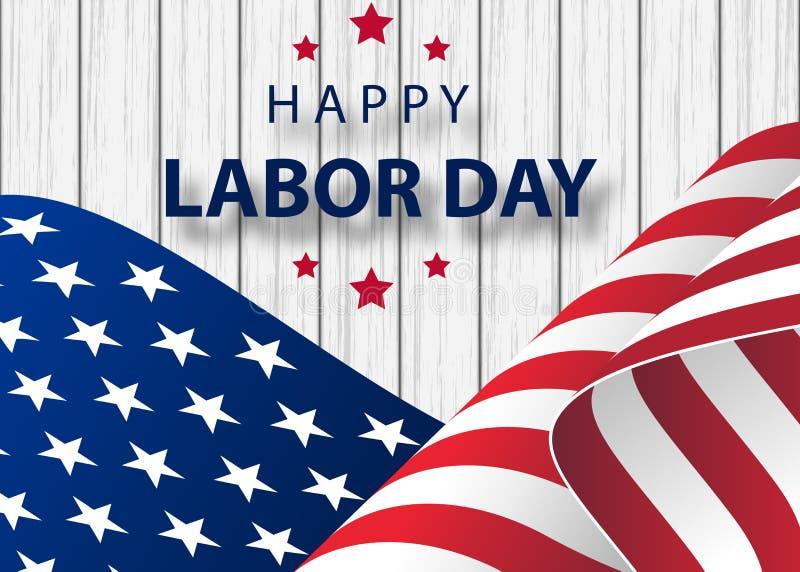 Bandeira feliz do feriado do Dia do Trabalhador com fundo do curso da escova na bandeira nacional do Estados Unidos ilustração royalty free