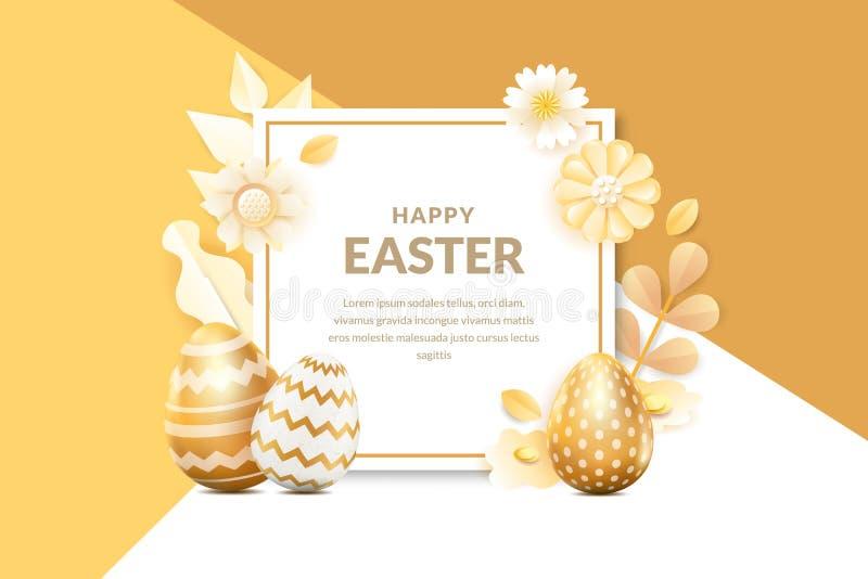 Bandeira feliz do vetor da Páscoa, molde do cartaz Fundo do quadro do feriado com os ovos 3d, as flores e as folhas dourados real ilustração do vetor