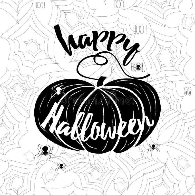 Bandeira feliz do vetor de Dia das Bruxas Caligrafia do feriado com Web e abóbora de aranha ilustração stock