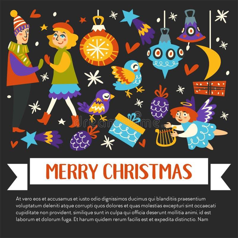 Bandeira feliz dos feriados de inverno do Feliz Natal com texto ilustração stock