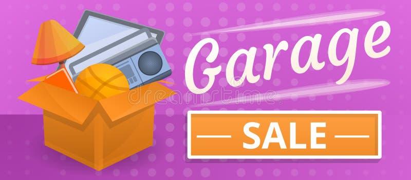Bandeira final do conceito da venda de garagem, estilo dos desenhos animados ilustração do vetor