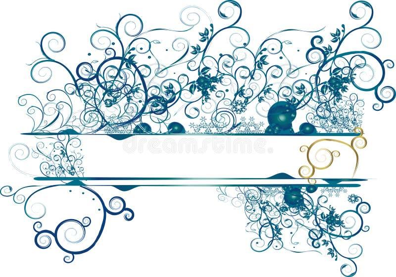 bandeira floral azul ilustração royalty free