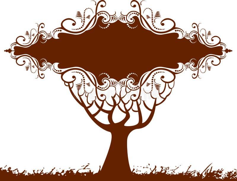 Bandeira floral da árvore ilustração royalty free