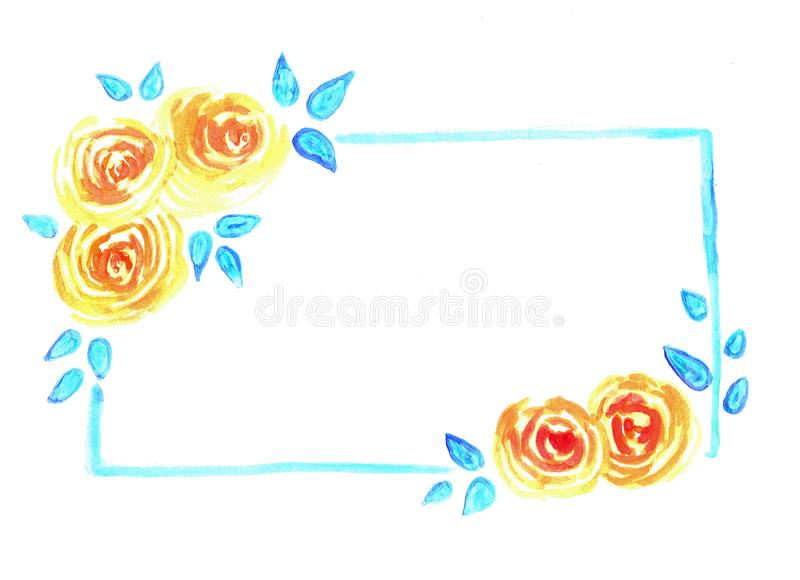 Bandeira floral da aquarela com rosas e folhas ilustração stock