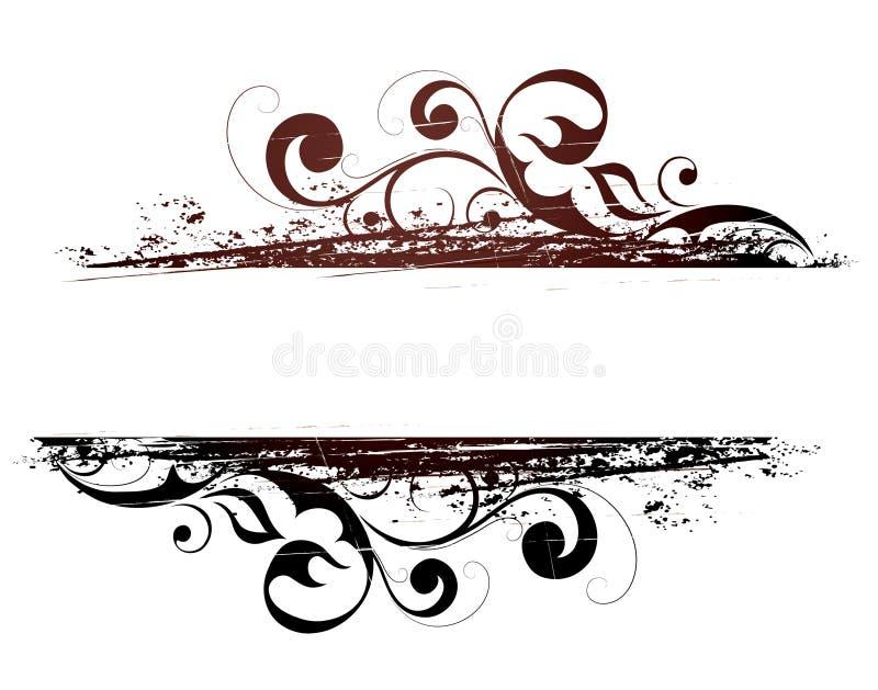 Bandeira floral de Grunge ilustração do vetor