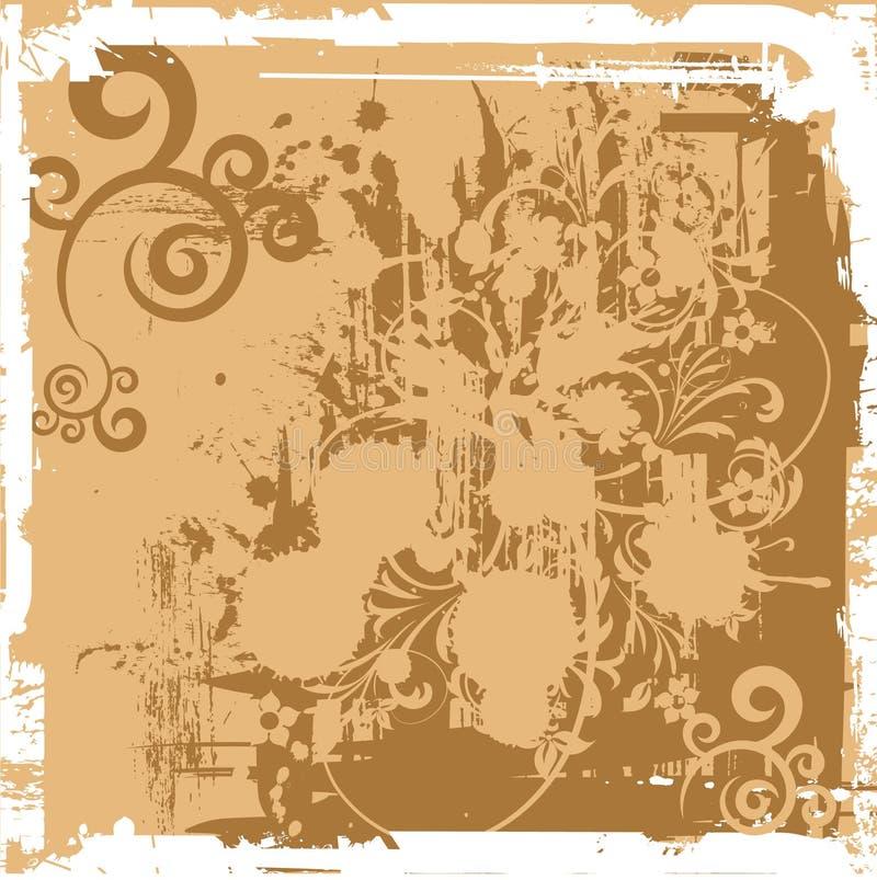 Bandeira floral do grunge (vetor) ilustração royalty free