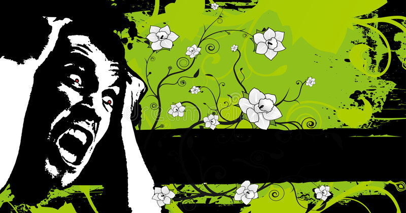 Bandeira floral do medo de Grunge ilustração do vetor